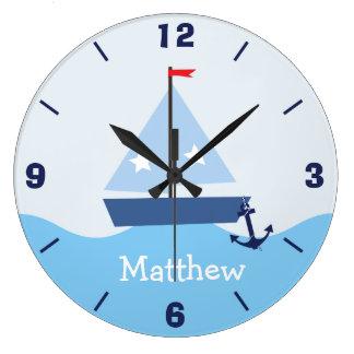 Personalized Nursery Nautical Sail Boat Wall Clock