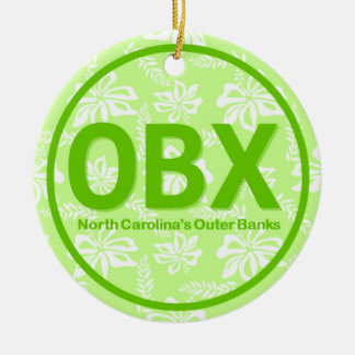 Personalized OBX Outer Banks North Carolina Green Ceramic Ornament