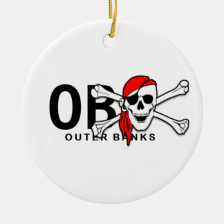 Personalized OBX Skull Crossbones Pirate Ornament
