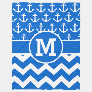 Personalized Ocean Blues Chevron Anchors Pattern Fleece Blanket