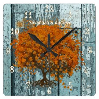 Personalized Old Rustic Aqua Wood Coral Tree Wall Clocks
