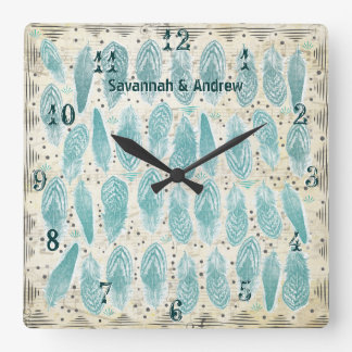 Personalized Old Rustic Teal Feather Pattern Square Wall Clock