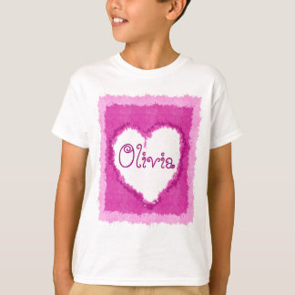 Personalized Olivia Watercolor Heart T-Shirt