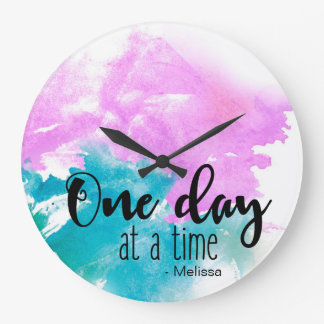 Personalized 'One day at a time' saying with name Large Clock