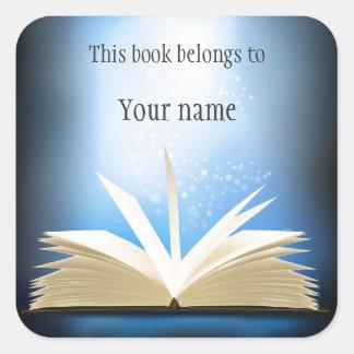 Personalized Open Book Design Bookplate Sticker
