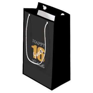 Personalized Orange And Black Sweet 16 Gift Bag