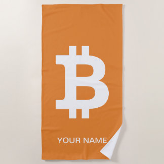 Personalized orange beach towel with bitcoin logo