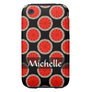 Personalized orange black circles pattern iPhone 3 tough cases