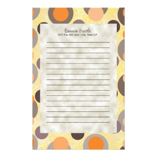 Personalized Orange Brown Gray Retro Abstract Dots Stationery