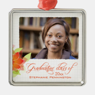 Personalized orange floral photo graduation metal ornament
