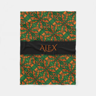 Personalized Orange & Green Lizards Gecko Pattern Fleece Blanket