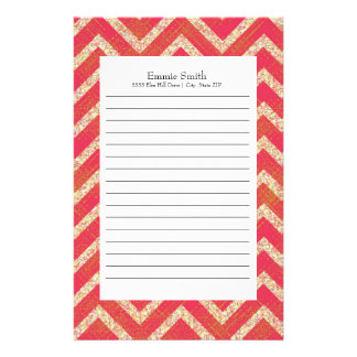 Personalized Orange Grunge Chevron Pattern Stationery