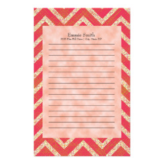 Personalized Orange Grunge Clouds Chevron Pattern Stationery