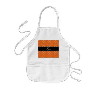 Personalized orange heart diamonds kids' apron