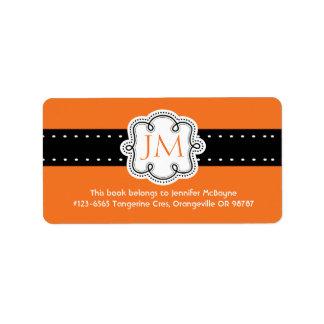 Personalized Orange Ladies Initials  Bookplate Address Label