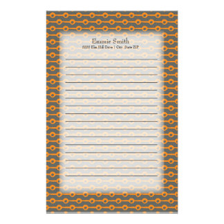 Personalized Orange Lines and Circles on Gray Stationery