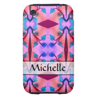 personalized orange pink flower abstract iPhone 3 tough cases