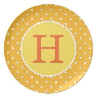 Personalized Orange Polka Dot Plate