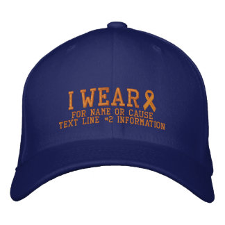 Personalized Orange Ribbon Awareness Embroidery Embroidered Hat
