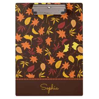 Personalized Orange Yellow Autumn Leaves Clipboard