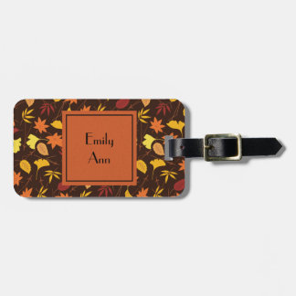 Personalized Orange Yellow Fall Leaves Luggage Tag