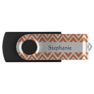 Personalized Orange Zigzag Pattern USB Flash Drive