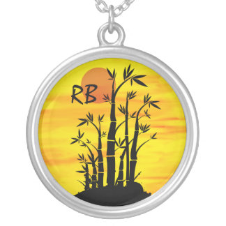 Personalized Oriental Bamboo Sunset Round Pendant Necklace