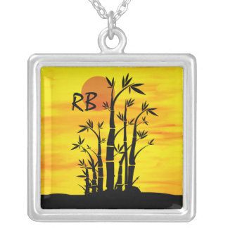 Personalized Oriental Bamboo Sunset Square Pendant Necklace