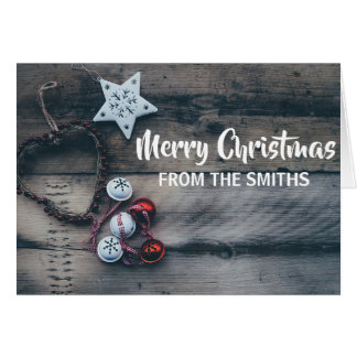 Personalized Ornament Christmas Rustic Card