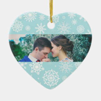Personalized Our First Christmas Snowflake Photo 1 Ceramic Heart Decoration