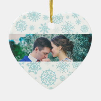 Personalized Our First Christmas Snowflake Photo 2 Ceramic Heart Decoration