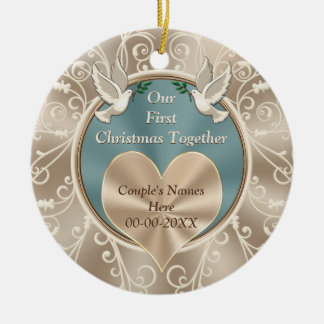Personalized Our First Christmas Together Round Ceramic Decoration