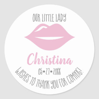 Personalized, Our little lady, thank you, loot Classic Round Sticker