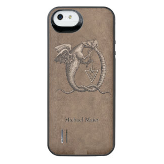 Personalized Ouroboros Dragons Leather iPhone SE/5/5s Battery Case