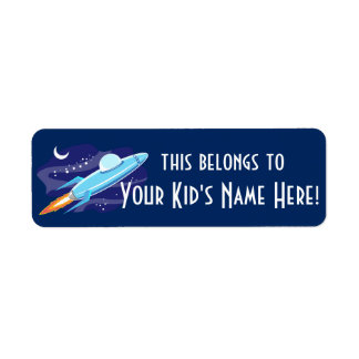 Personalized Outer Space Rocket Kids Boys School Return Address Label