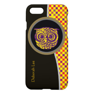 personalized owl bird yellow pixels iPhone 7 case