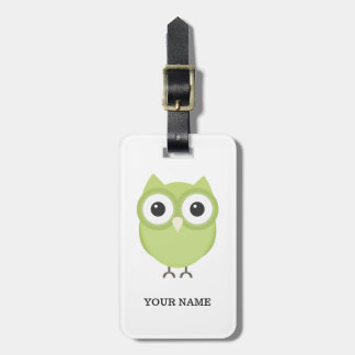 Personalized owl luggage tag