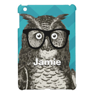 Personalized Owl with Nerdy Glasses iPad Mini Cases