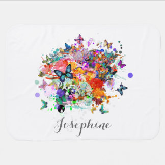 Personalized Paint splash Butterflies Pop Art Baby Blanket