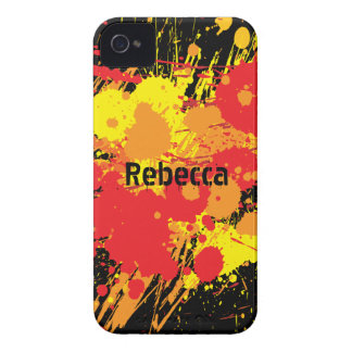 Personalized Paint Splat Fire on black background iPhone 4 Case-Mate Case
