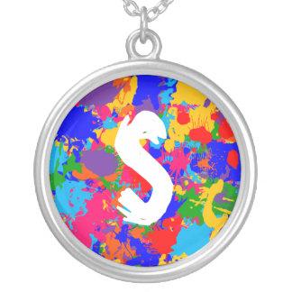 Personalized Paint Splatter Round Pendant Necklace