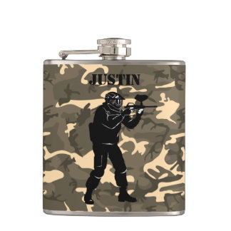 Personalized Paintball Camouflage Hip Flask