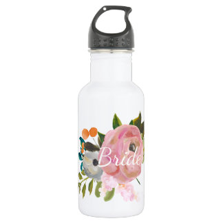 Personalized Painted Floral Bride Waterbottle 532 Ml Water Bottle