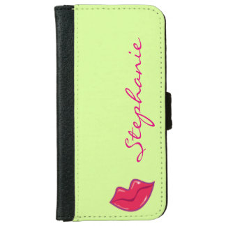 Personalized Pair of Cherry Red Lips iPhone 6 Wallet Case