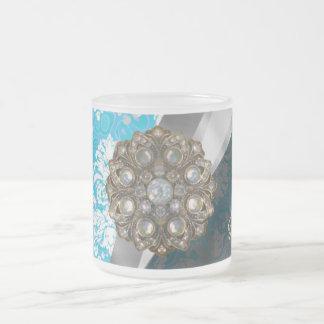 Personalized pale blue pretty girly damask pattern frosted glass coffee mug