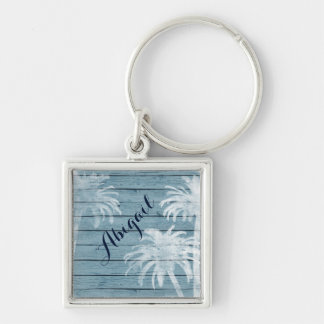 Personalized Palm Trees on Rustic Wood Beach Key Ring