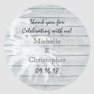 Personalized Palm Trees on Wood Beach Wedding Round Sticker