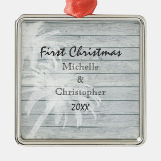 Personalized Palm Trees ~ Wood Beach 1st Christmas Metal Ornament
