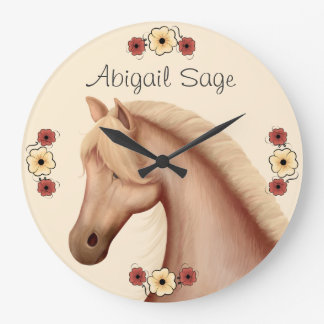 Personalized Palomino and Flowers Horse Wall Clock