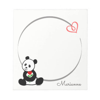Personalized Panda Bear Tiny Heart Note Pad